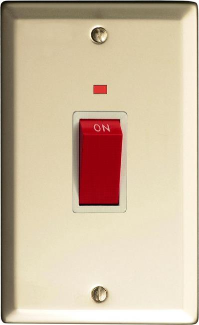 XN45NW Varilight 45 Amp Cooker Switch with Neon (Vertical Double Size), Classic Satin Chrome