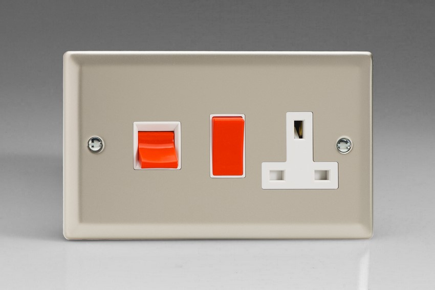 XN45PW Varilight 45 Amp Cooker Panel with 13 Amp Switched Socket (Horizontal Double Size), Classic Satin Chrome