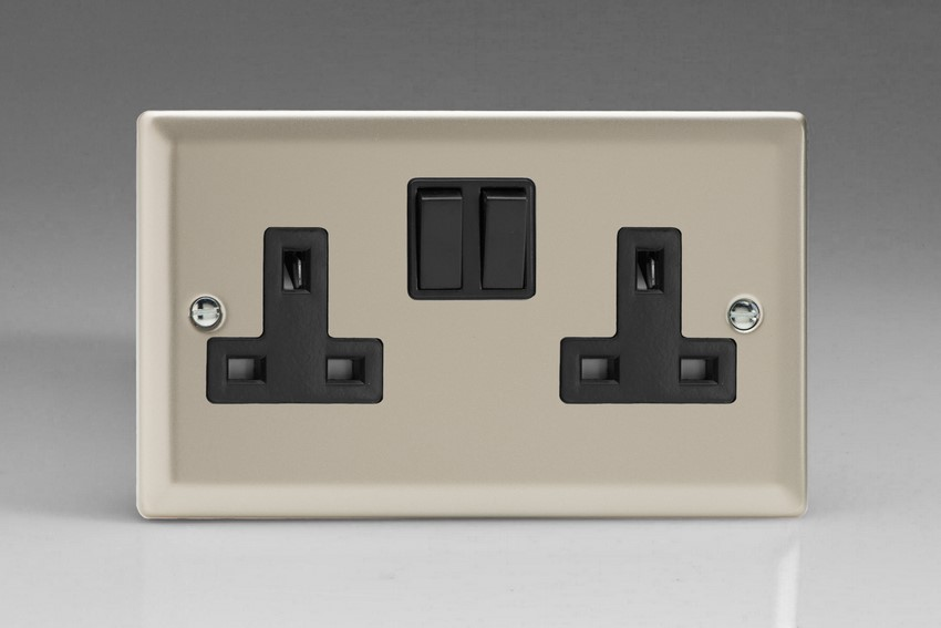 XN5B Varilight 2 Gang (Double), 13 Amp Switched Socket, Classic Satin Chrome