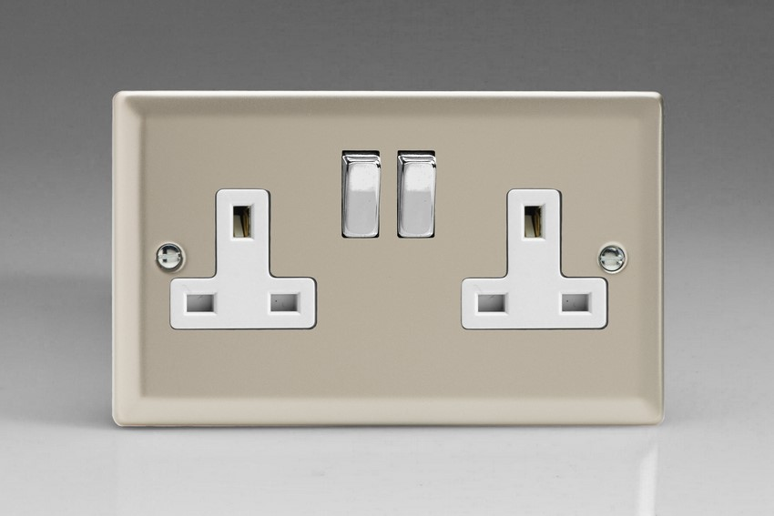 XN5DW Varilight 2 Gang (Double), 13 Amp Switched Socket, Classic Satin Chrome