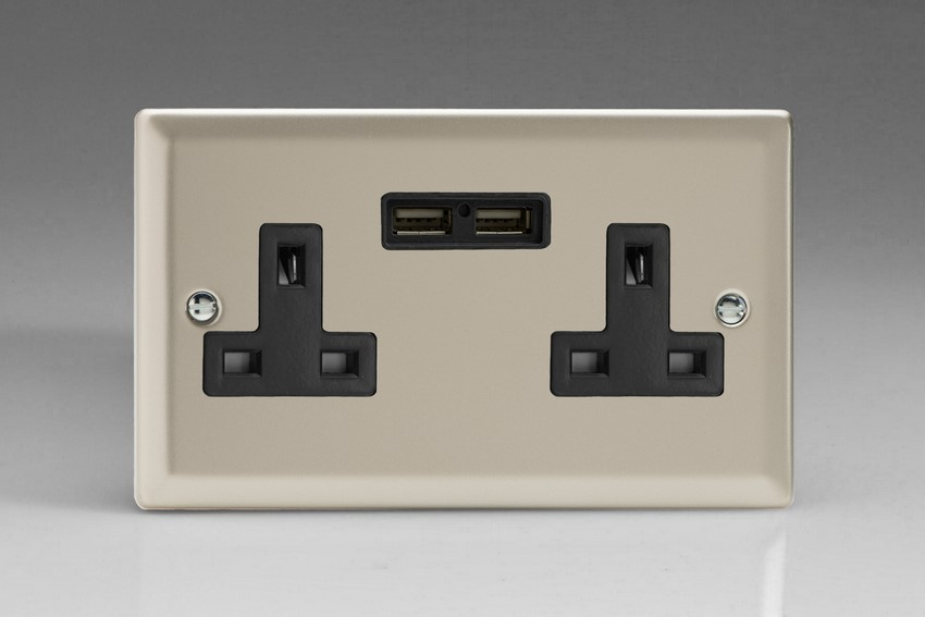 XN5U2B Varilight 2 Gang, 13 Amp Unswitched Socket with 2 Optimised USB Charging Ports, Black Insert, Classic Satin Chrome