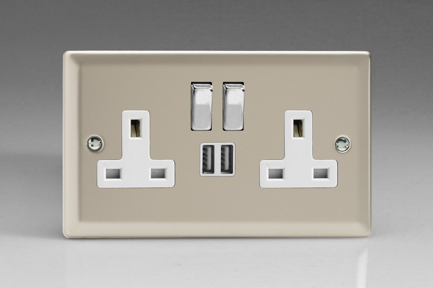 XN5U2SDW Varilight 2 Gang 13A Single Pole Switched Socket + 2 x 5V DC 2100mA USB Charging Ports, White Insert & Polished Chrome Switches. Classic Satin Chrome
