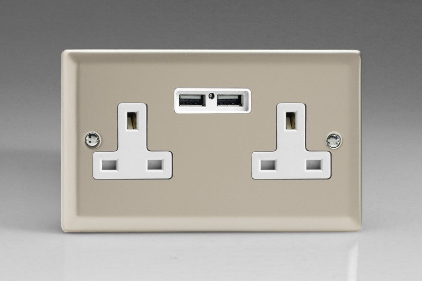CLEARANCE XN5U2W Varilight 2 Gang, 13 Amp Unswitched Socket with 2 USB Charging Ports, White Insert. Classic Satin Chrome
