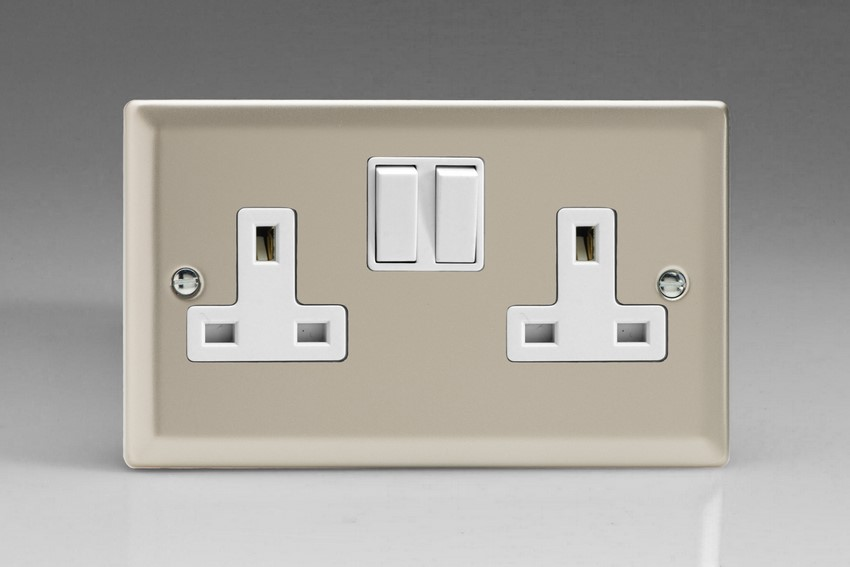 XN5W Varilight 2 Gang (Double), 13 Amp Switched Socket, Classic Satin Chrome