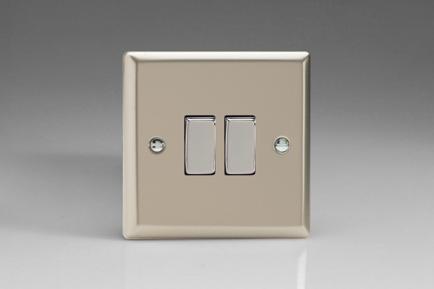 XN77D Varilight 2 Gang (Double), (3 Way) Intermediate 10 Amp Switch, Classic Satin Chrome