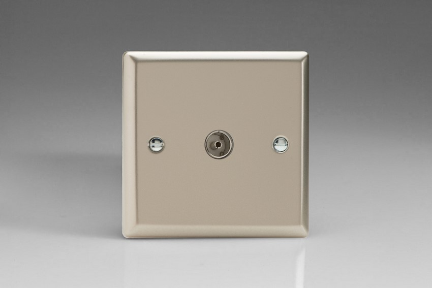 XN8 Varilight 1 Gang (Single), Co-axial TV Socket, Classic Satin Chrome