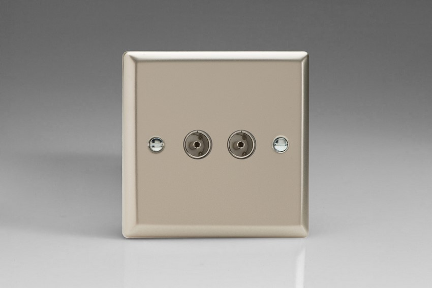 XN88 Varilight 2 Gang (Double), Co-axial TV Socket, Classic Satin Chrome