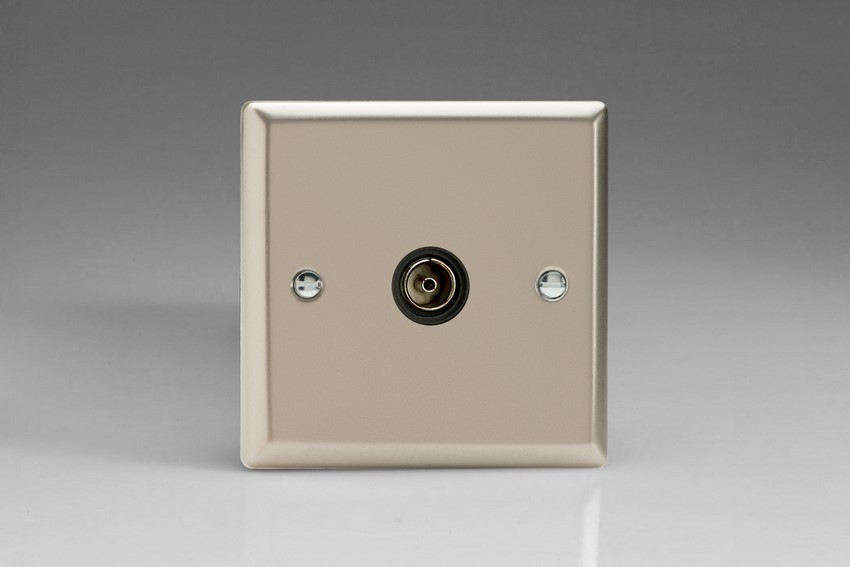 XN8ISOB Varilight 1 Gang (Single), Isolated Co-axial TV Socket, Classic Satin Chrome