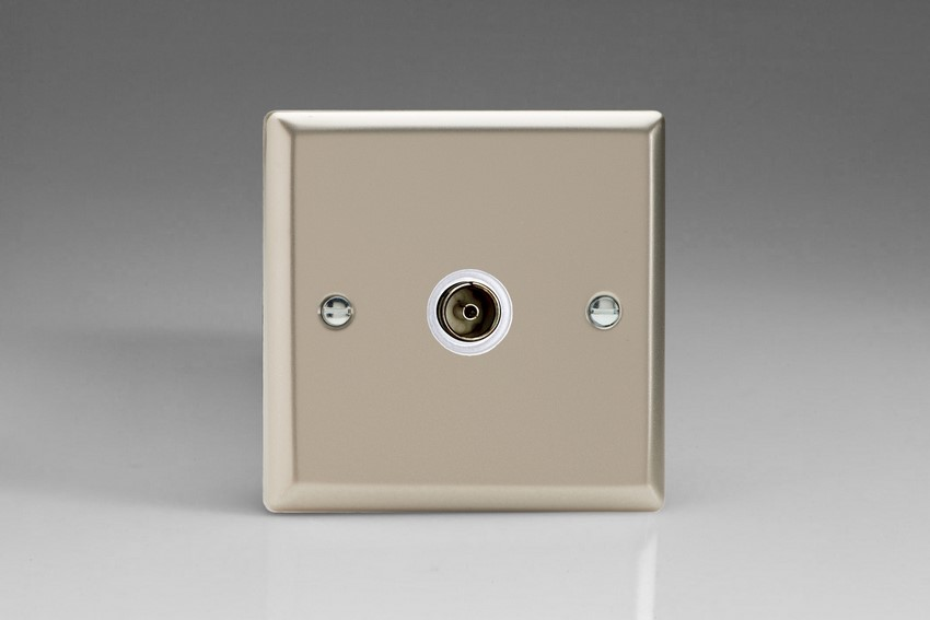 XN8ISOW Varilight 1 Gang (Single), Isolated Co-axial TV Socket, Classic Satin Chrome