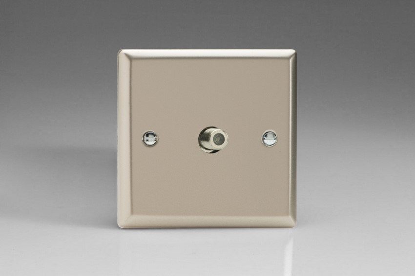 XN8S Varilight 1 Gang (Single), Satellite TV Socket, Classic Satin Chrome
