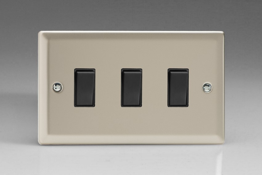 XN93B Varilight 3 Gang (Triple), 1or 2 Way 10 Amp Switch, Classic Satin Chrome (Double Plate)