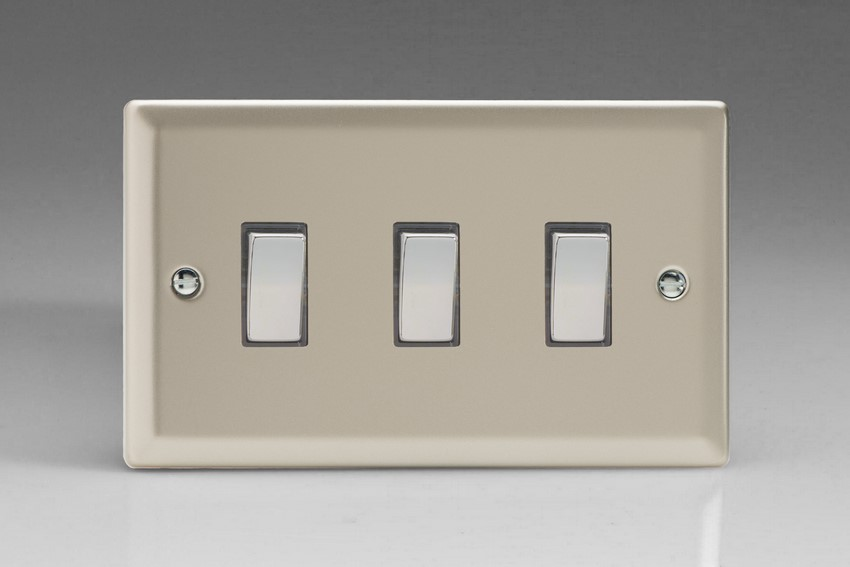 XN93D Varilight 3 Gang (Triple), 1or 2 Way 10 Amp Switch, Classic Satin Chrome (Double Plate)
