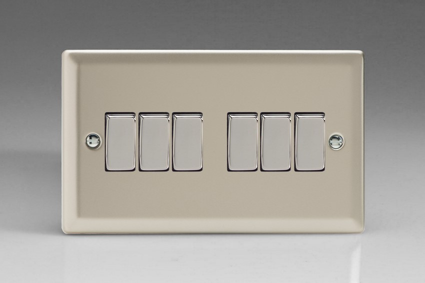 XN96D Varilight 6 Gang 1or 2 Way 10 Amp Switch, Classic Satin Chrome (Double Plate)