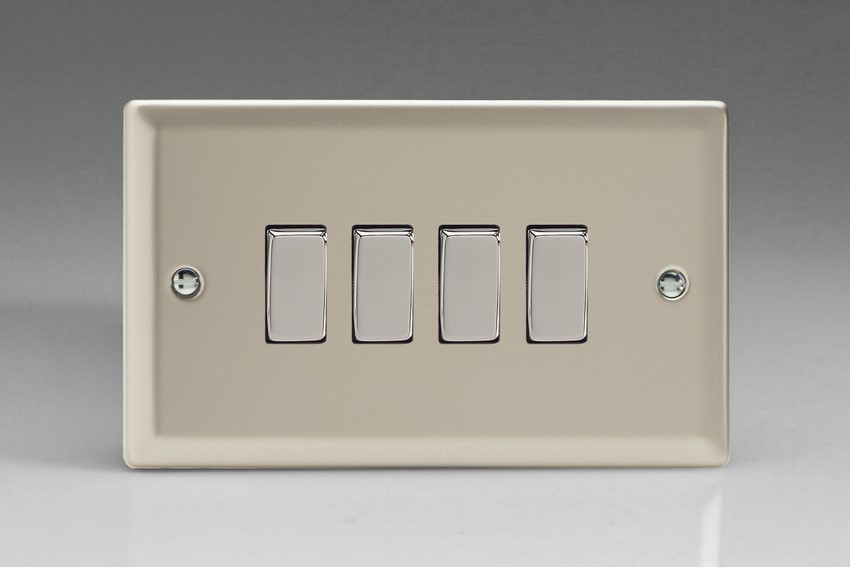 XN9D Varilight 4 Gang (Quad), 1or 2 Way 10 Amp Switch, Classic Satin Chrome (Double Plate)