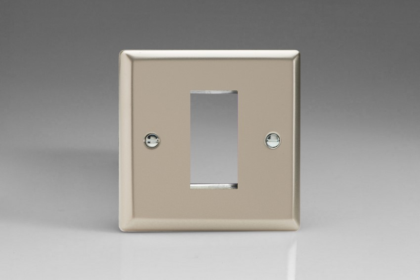XNG1 Varilight Single Size Data Grid Face Plate For 1 Data Module Width, Classic Satin Chrome
