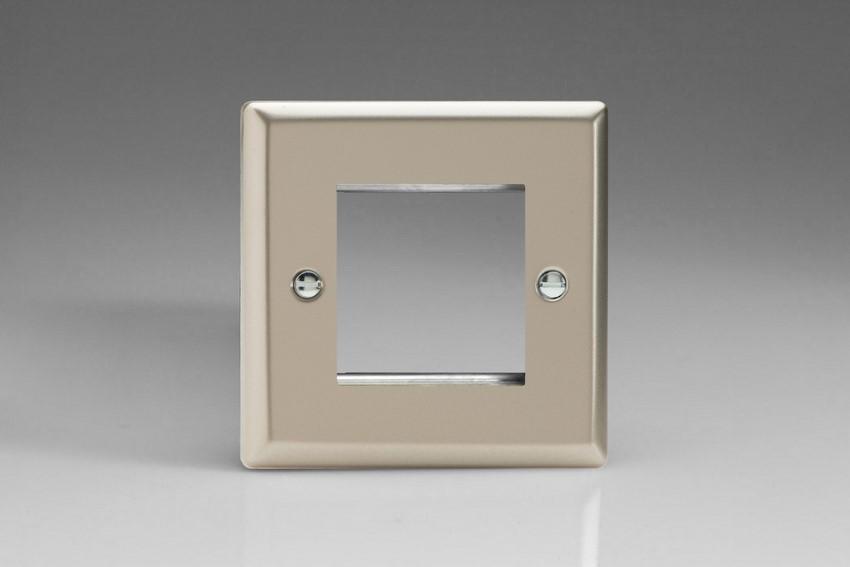 XNG2 Varilight Single Size Data Grid Face Plate For 2 Data Modules, Classic Satin Chrome