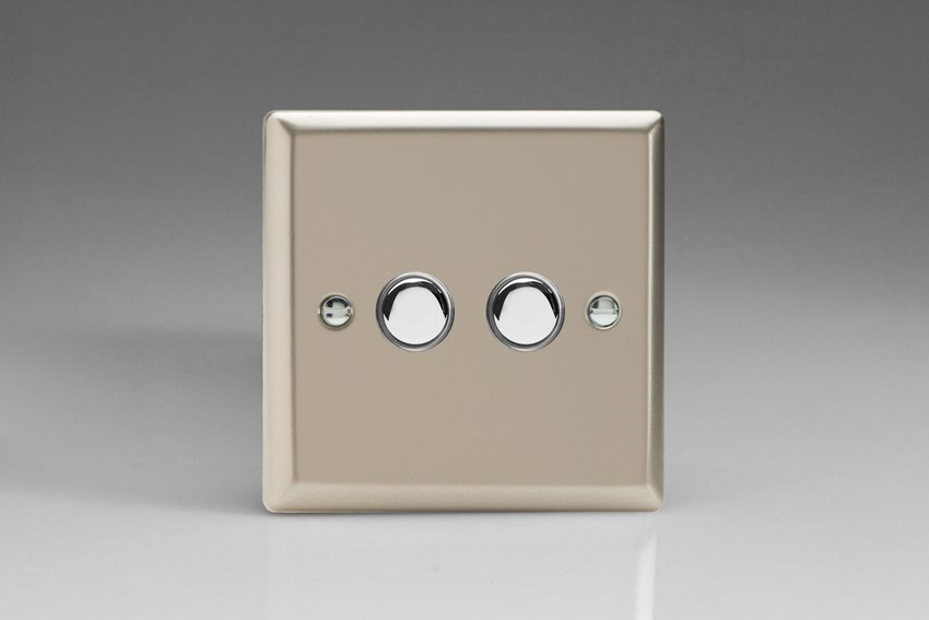 XNM2 Varilight 2 Gang (Double), 1 Way, 6 Amp Impulse Retractive/Momentary Switch (Push To Make), Classic Satin Chrome
