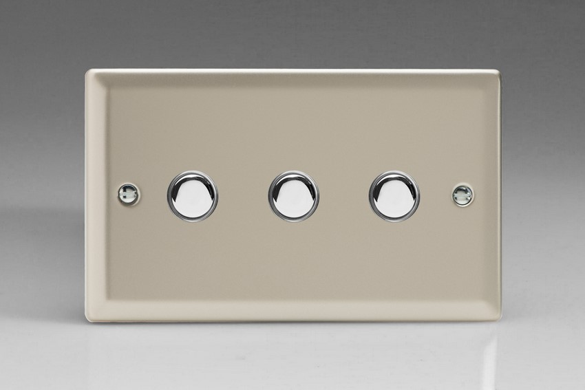 XNM3 Varilight 3 Gang (Triple), 1 Way, 6 Amp Impulse Retractive Switch (Push To Make), Classic Satin Chrome