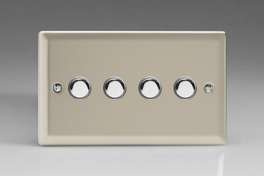 XNP4 Varilight 4 Gang (Quad) 1 or 2 way 6 Amp Push-on Push-off Switch (impulse), Classic Satin Chrome