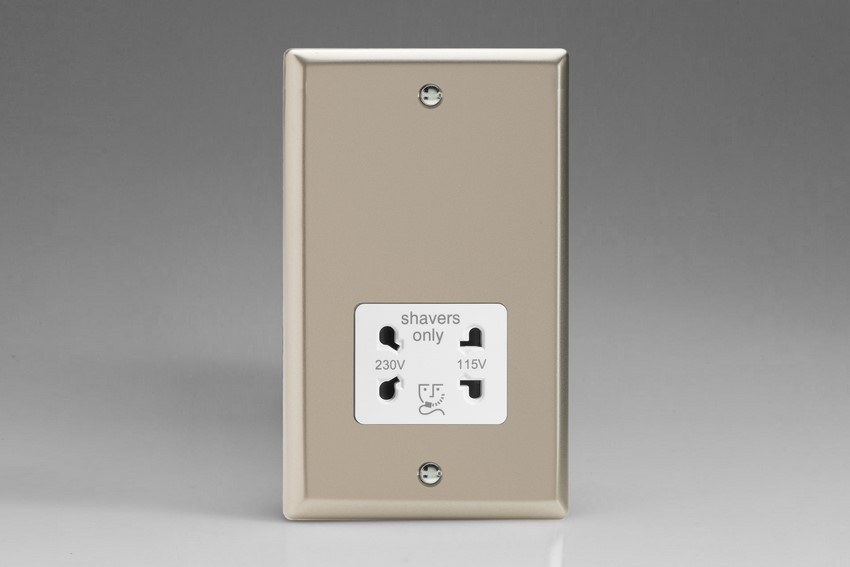 XNSSW Varilight Dual Voltage Shaver Socket, Classic Satin Chrome