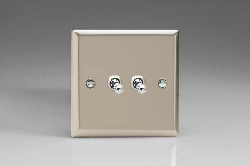 XNT2 Varilight 2 Gang (Double), 1 or 2 Way 10 Amp Classic Toggle Switch, Classic Satin Chrome