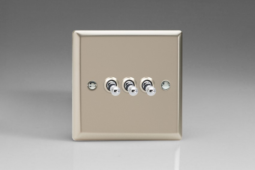 XNT3 Varilight 3 Gang (Triple), 1 or 2 Way 10 Amp Classic Toggle Switch, Classic Satin Chrome