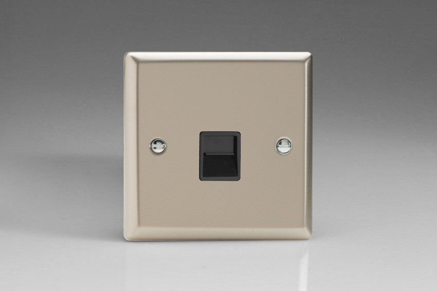XNTMB Varilight 1 Gang (Single), Telephone Master Socket, Classic Satin Chrome
