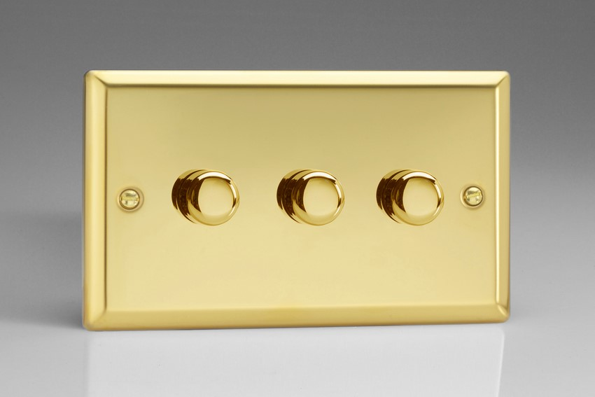 Varilight JVDP303, V-Pro Series 3 Gang, 1 or 2 Way, Push-On/Off Rotary LED Dimmer 3 x 0-120W (1-10 LEDs) (Twin Plate), Classic Victorian Polished Brass Effect