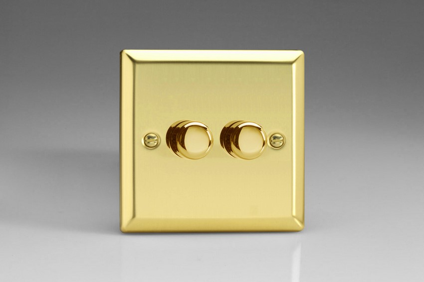 HV83 Varilight V-Dim 2 Gang, 1 or 2 Way 2x400 Watt Dimmer, Classic Victorian Polished Brass Effect