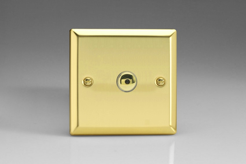 IJVI101 Varilight V-Pro IR Series, Intelligent Programmable Master Dimmer, with Touch Sensitive Button and Centralised Remote Control Sensor - 1 gang, 0-100 Watts of LEDs, Classic Victorian Polished Brass