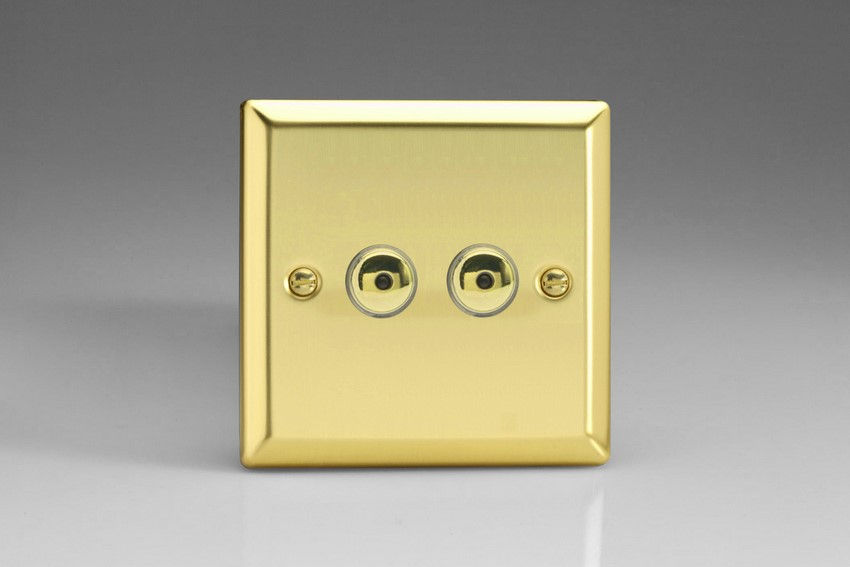 IJVI102 Varilight V-Pro IR Series, Intelligent Programmable Master Dimmer, with Touch Sensitive Button and Centralised Remote Control Sensor - 2 gang, 0-100 Watts of LEDs, Classic Victorian Polished Brass