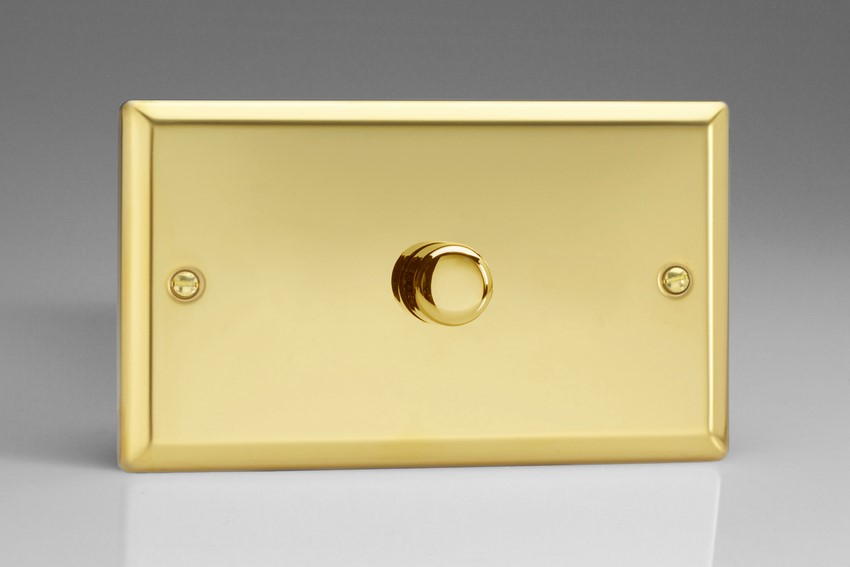 IVDP1001 Varilight V-Plus Series 1 Gang 1 or 2 Way 1000 Watt/VA Dimmer, Classic Victorian Polished Brass Effect