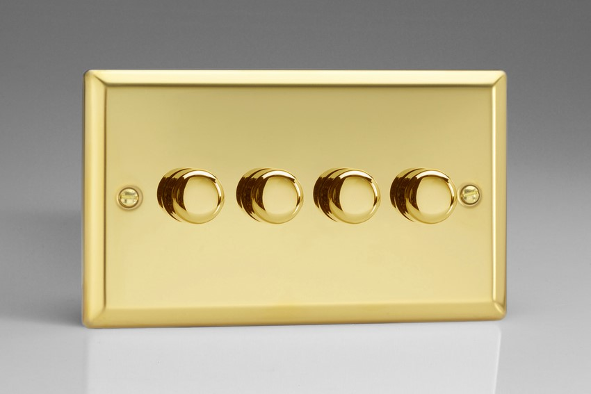 Varilight JVDP254, V-Pro Series 4 Gang, 1 or 2 Way, Push-On/Off Rotary LED Dimmer 4 x 0-120W (1-10 LEDs) (Twin Plate), Classic Victorian Polished Brass Effect