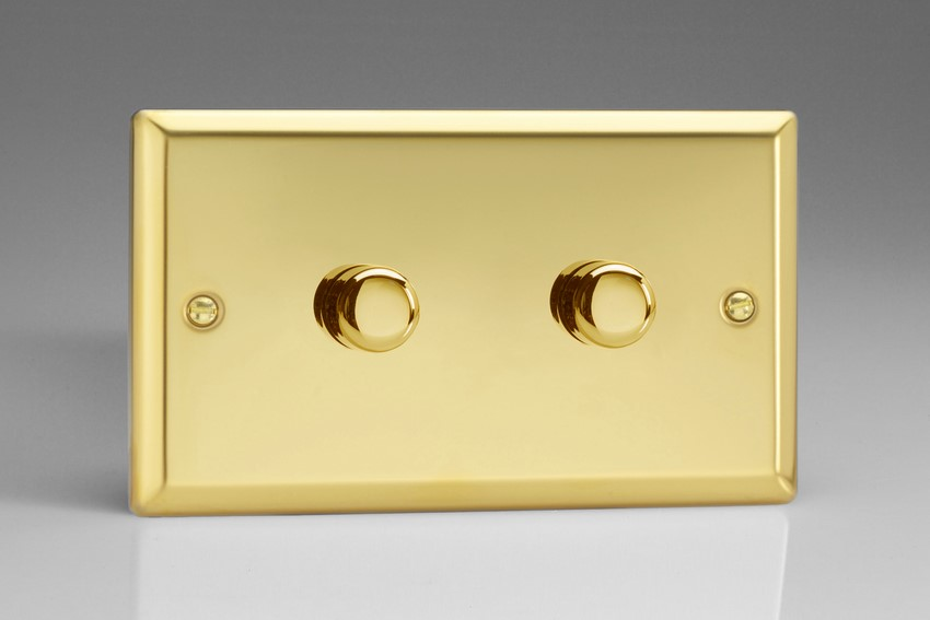 Varilight JVDP402, V-Pro Series 2 Gang, 1 or 2 Way,2-Gang 2-Way Push-On/Off Rotary LED Dimmer 2 x 0-120W (1-10 LEDs) (Twin Plate), Classic Victorian Polished Brass Effect