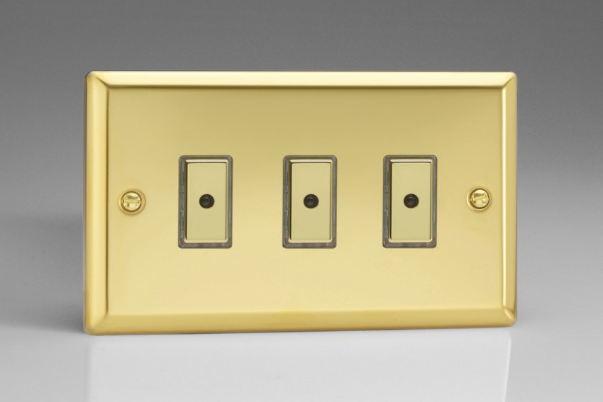 JVE103 Varilight V-Pro Series Eclique2, 3 gang Intelligent Programmable Master Dimmer, with Tactile Touch Button and Integrated Remote Control Sensor 0-100 Watts of LEDs (10 LEDs Max), Classic Victorian Polished Brass Effect