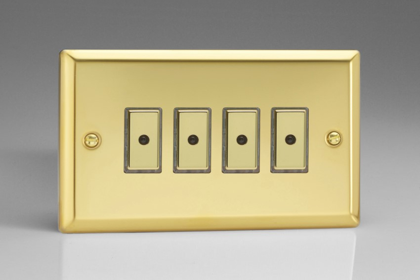 JVE104 - Varilight V-Pro Series Eclique2, 4 gang Intelligent Programmable Master Dimmer, with Tactile Touch Button and Integrated Remote Control Sensor 0-100 Watts of LEDs (10 LEDs Max), Classic Victorian Polished Brass Effect
