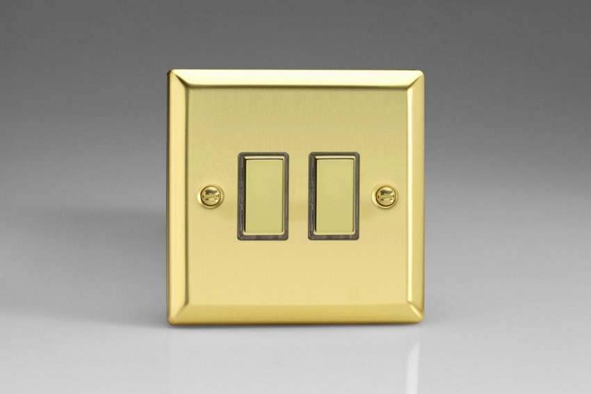 JVES002 Varilight V-Pro Series Eclique2, 2 Gang Tactile Touch Button Slave Unit for 2 way or Multi-way Circuits Only, Classic Victorian Polished Brass Effect