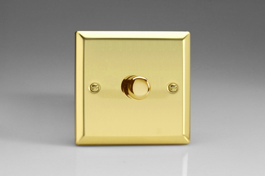 JVP601 Varilight V-Pro Series, 1-Gang 1 or 2-Way Push-On/Off Rotary LED Dimmer 10-300W (Max 30 LEDs), Classic Victorian Polished Brass Effect