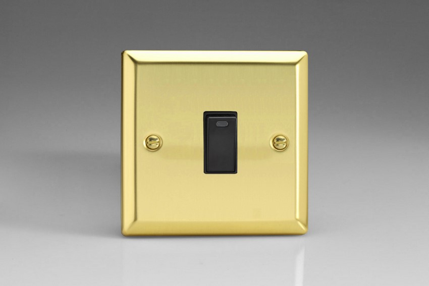 XV20NB Varilight 1 Gang (Single), 20 Amp Double Pole Switch with Neon, Classic Victorian Polished Brass Effect