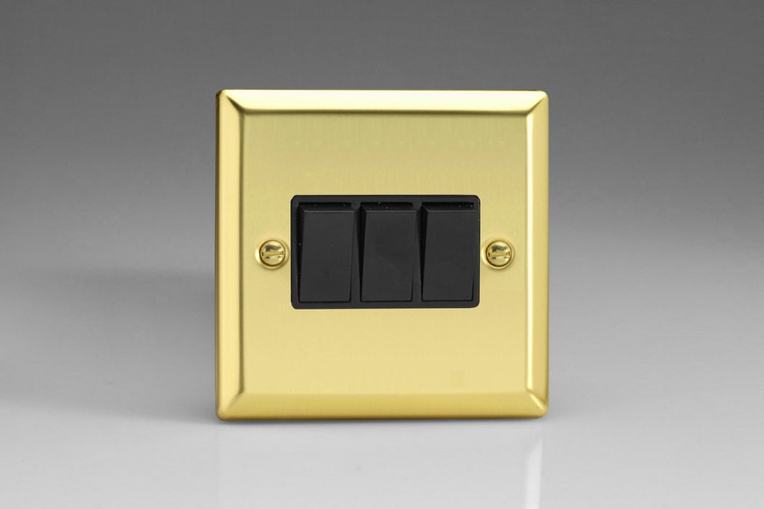 XV3B Varilight 3 Gang (Triple), 1 or 2 Way 10 Amp Switch, Classic Victorian Polished Brass Effect