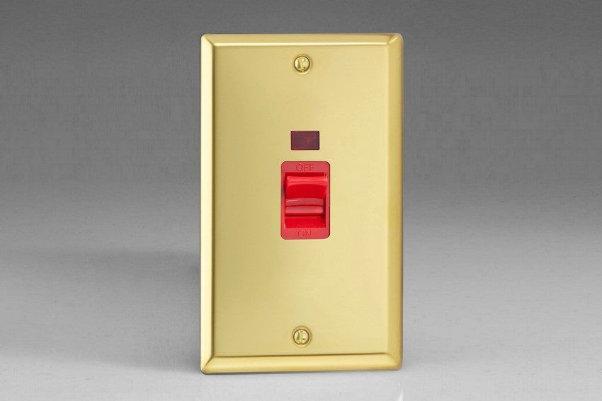 XV45N Varilight 45 Amp Cooker Switch with Neon (Vertical Double Size), Classic Victorian Polished Brass Effect