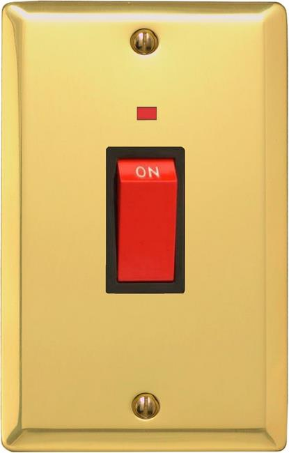 XV45NB Varilight 45 Amp Cooker Switch with Neon (Vertical Double Size), Classic Victorian Polished Brass Effect