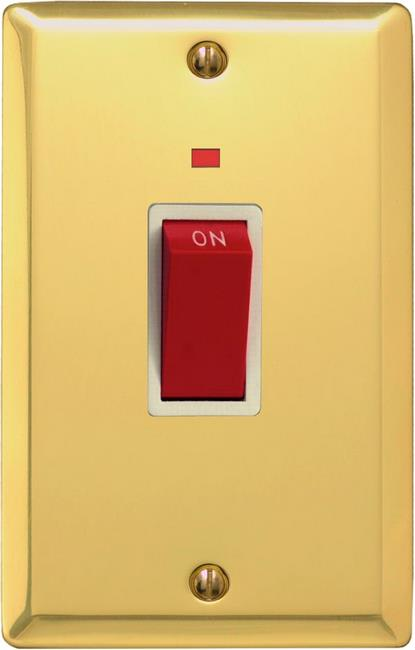 XV45NW Varilight 45 Amp Cooker Switch with Neon (Vertical Double Size), Classic Victorian Polished Brass Effect