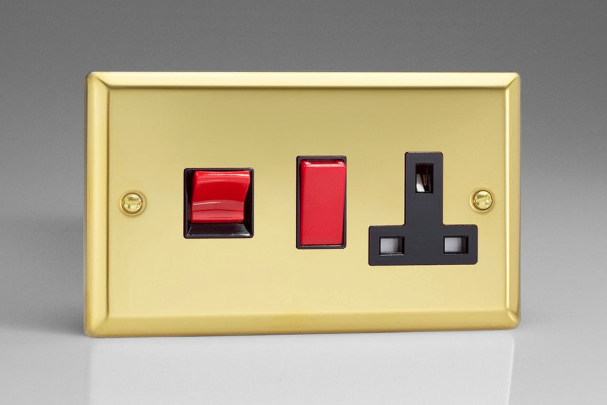 XV45PB Varilight 45 Amp Cooker Panel with 13 Amp Switched Socket (Horizontal Double Size), Classic Victorian Polished Brass Effect