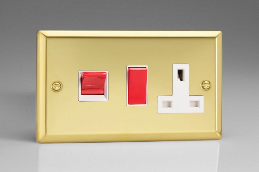 XV45PW Varilight 45 Amp Cooker Panel with 13 Amp Switched Socket (Horizontal Double Size), Classic Victorian Polished Brass Effect