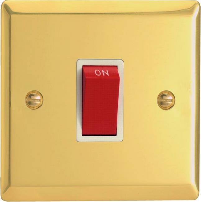 XV45SW Varilight 45 Amp Cooker Switch (Single Size), Classic Victorian Polished Brass Effect