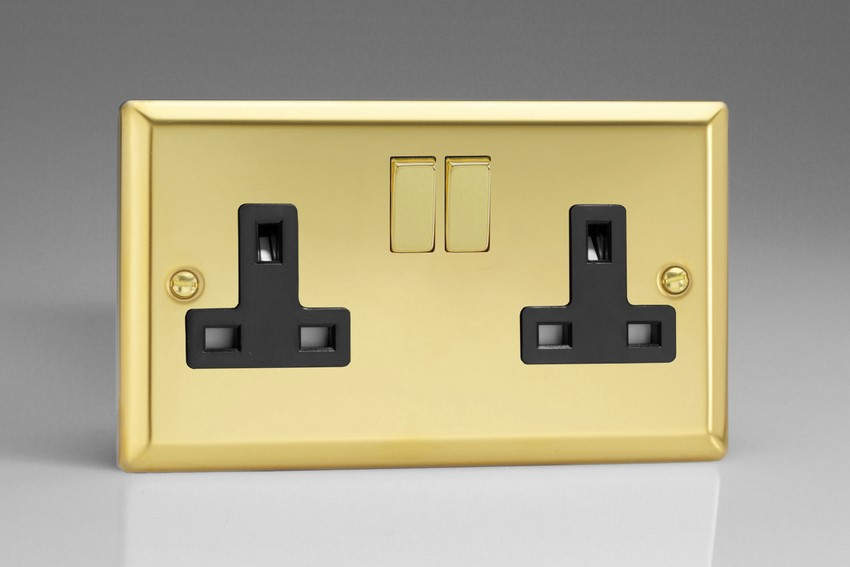 Varilight 2 Gang 13 Amp Double Pole Switched Socket Classic Victorian Brass