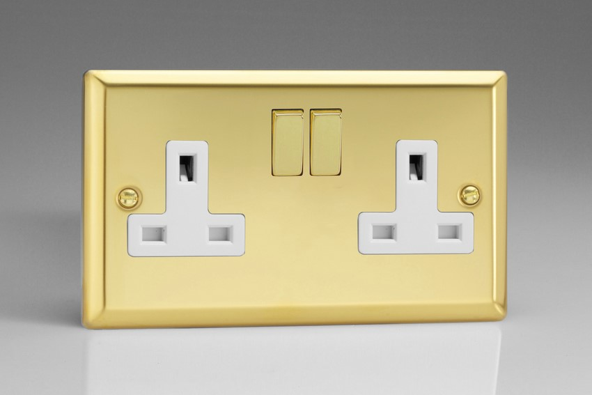 XV5DW Varilight 2 Gang (Double), 13 Amp Switched Socket, Classic Victorian Polished Brass Effect