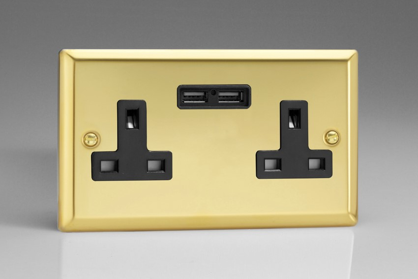 CLEARANCE - XV5U2B Varilight 2 Gang, 13 Amp Unswitched Socket with 2 USB Charging Ports, Black Insert. Classic Victorian Polished Brass Effect