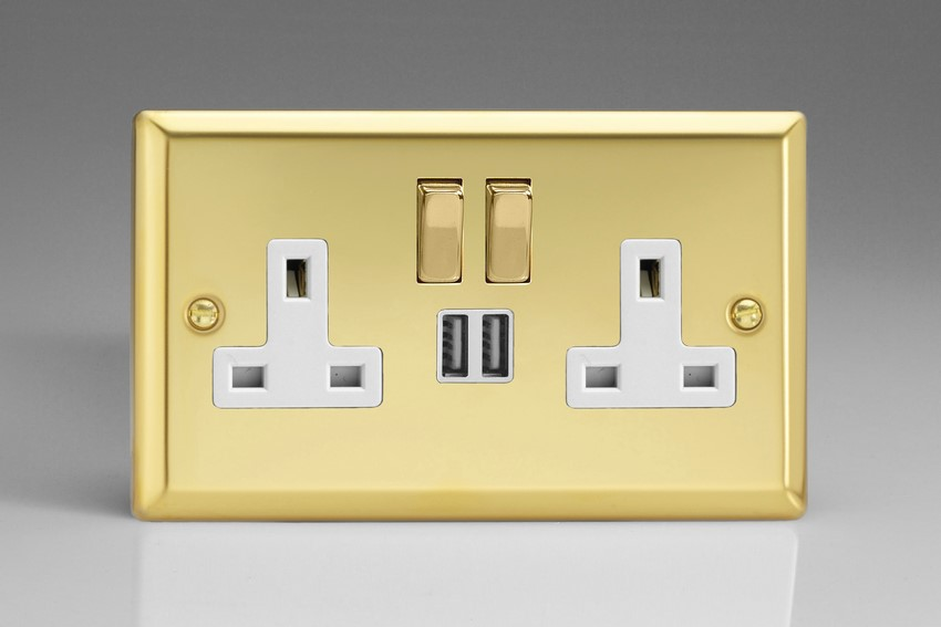 XV5U2SDW Varilight 2 Gang 13A Single Pole Switched Socket + 2 x 5V DC 2100mA USB Charging Ports, White Insert & Polished Brass Switches. Classic Victorian Polished Brass Effect